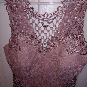 This is a rose gold dress for an event